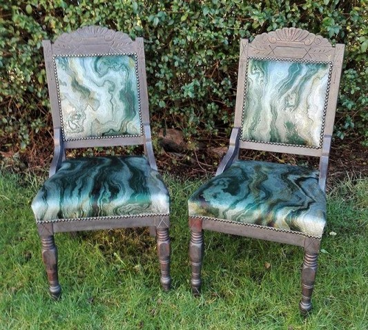 upcycled and re-upholstered chairs