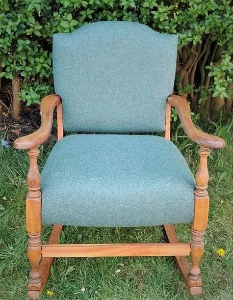Re-upholstered rocker chair