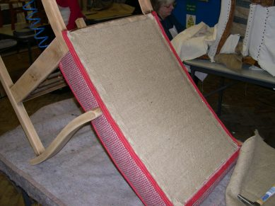 hessian stapled in on the chair's back