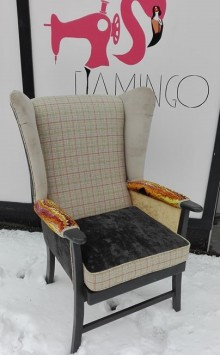 eclectic chair with various textures and pattern