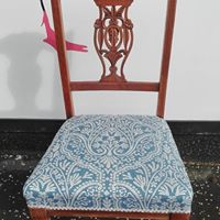 antique dining chair , traditionally upholstered