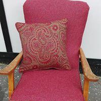 vintage chair red wool
