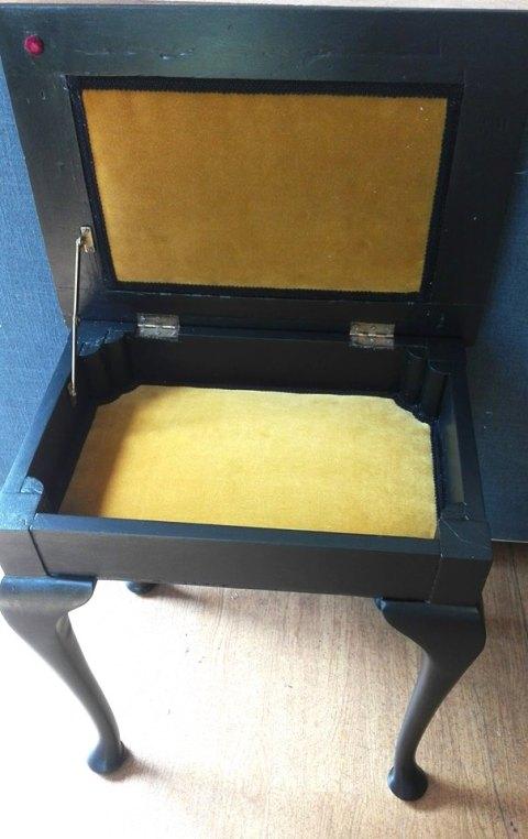 Inside piano stool