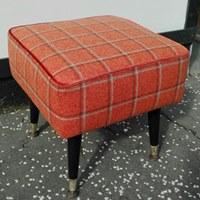 vintage footstool orange wool