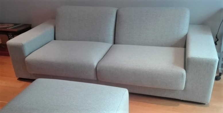 Sofa recovered in Moon wool