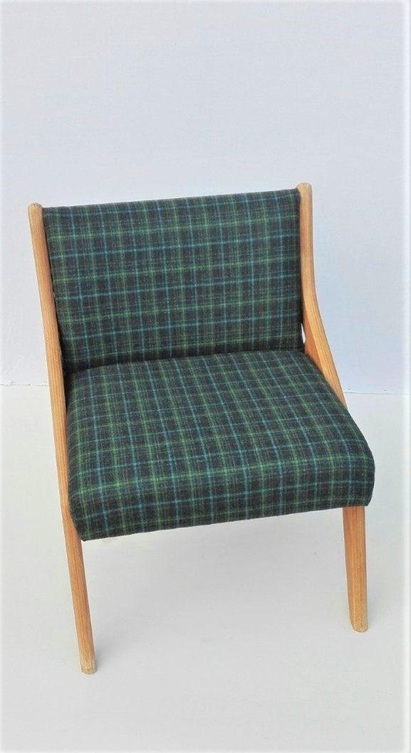 mid-century chair checked wool