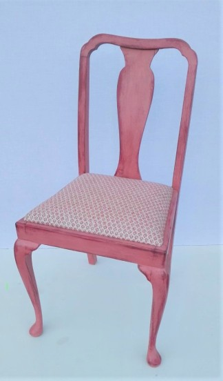 orange distressed dining chair